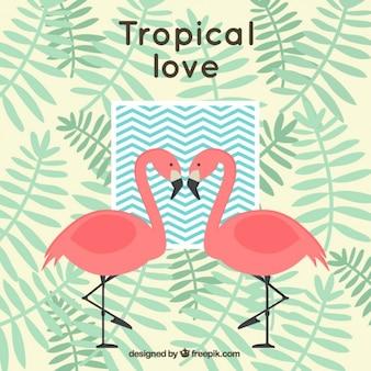 Fondo tropical con flamencos y hojas de palmera