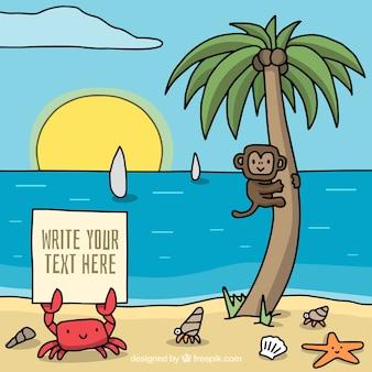 Fondo veraniego de playa con simpático mono y cangrejo