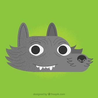 Fondo verde con cara de lobo