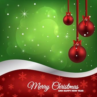Fondo verde con tres bolas rojas de navidad