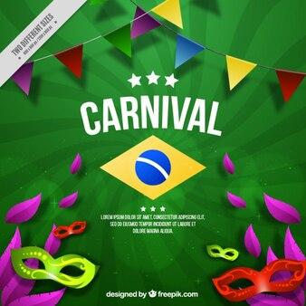 Fondo verde de carnaval de máscaras con guirnaldas