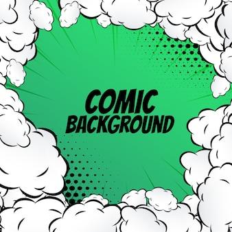 Fondo verde de comic con nubes