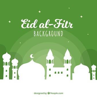 Fondo verde de eid al-fitr de mezquita