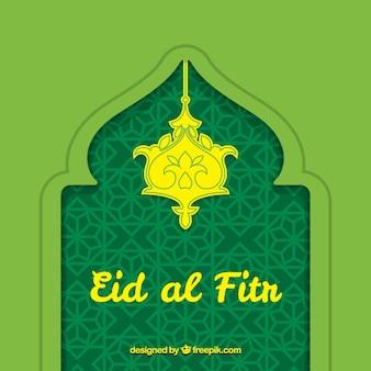 Fondo verde de eid al fitr decorativo dibujado a mano