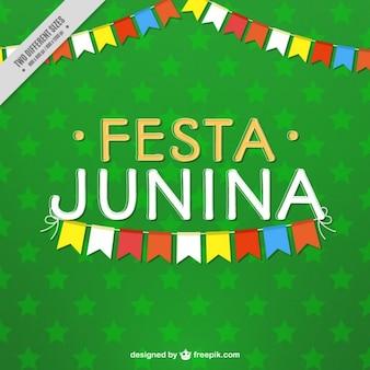 Fondo verde de estrellas de fiesta junina