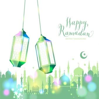 Fondo verde de feliz ramadán