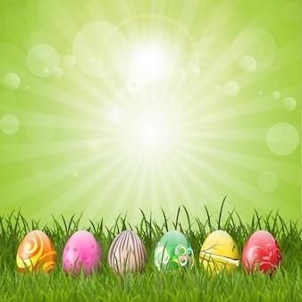 Fondo verde de huevos de pascua