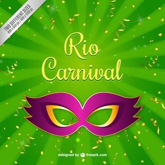 Fondo verde de máscara de carnaval
