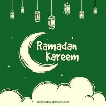 Fondo verde de ramadan kareem con luna y nubes