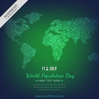 Fondo verde del día de población con mapa