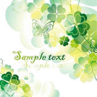 Fondo verde floral con mariposas