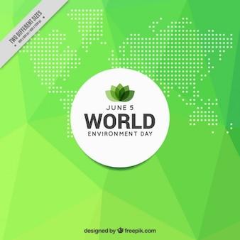 Fondo verde poligonal del día del medio ambiente