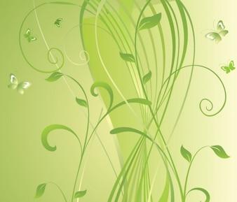 fondo verde vector floral