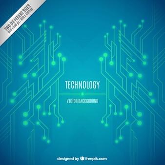 Fondo verde y azul de tecnología