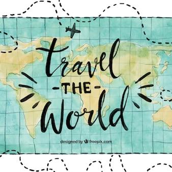 Fondo viaje por el mundo en acuarela