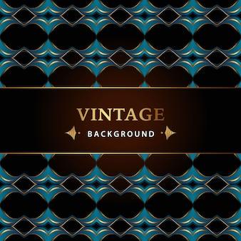Fondo vintage azul y dorado