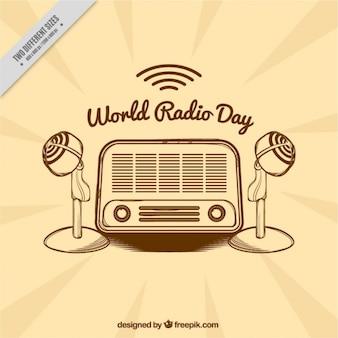 Fondo vintage con radio y micrófonos