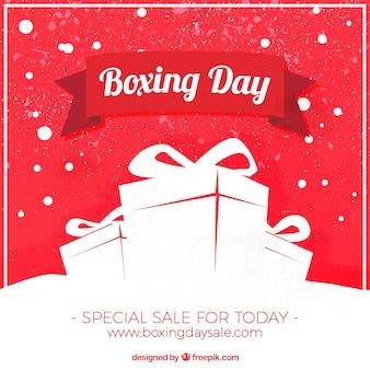 Fondo vintage con regalos para el boxing day