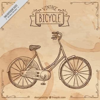 Fondo vintage con una bici dibujada a mano