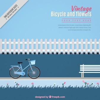 Fondo vintage con una bicicleta en un parque