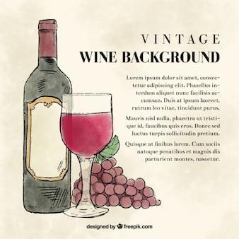Fondo vintage de acuarela con botella de vino y copa