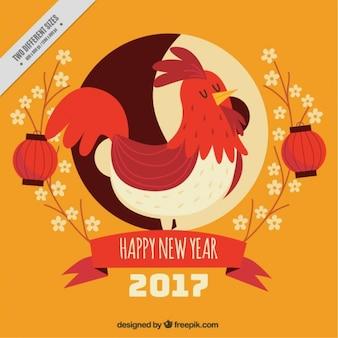 Fondo vintage de año nuevo chino de simpático gallo