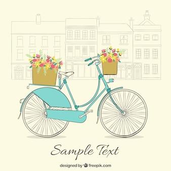 Fondo vintage de bicicleta dibujada a mano con bonitas cestas