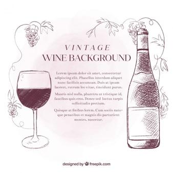 Fondo vintage de bocetos de vino