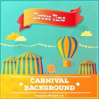 Fondo vintage de carpas de circo y globo aerostático