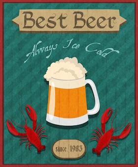 Fondo vintage de cerveza con langostinos