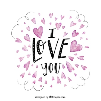 Fondo vintage de corazones con mensaje romántico