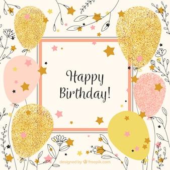 Fondo vintage de feliz cumpleaños con globos y bocetos de flores