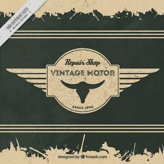 Fondo vintage de insignia decorativa de motos