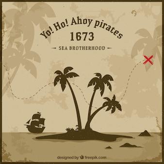 Fondo vintage de isla y mapa del tesoro