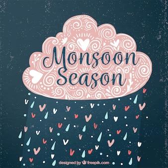 Fondo vintage de nube decorativa de monzón con lluvia y corazones
