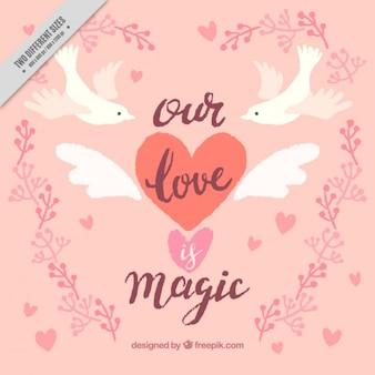 Fondo vintage de palomas con mensaje de amor