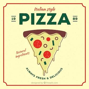 Fondo vintage de pizza dibujada a mano