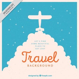 Fondo vintage de silueta de avioneta y frase inspiradora