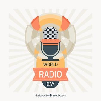 Fondo vintage del día mundial de la radio con micrófono