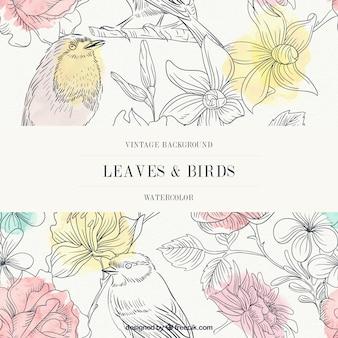 Fondo vintage en acuarela de hojas y pájaros