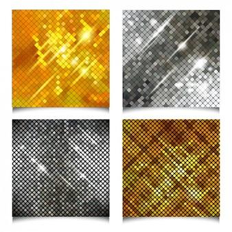 Fondos geométricos y abstractos en dorado y plateado