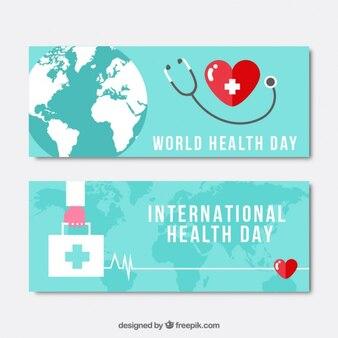 Fonendoscopio y primeros banners de día de salud Botiquín