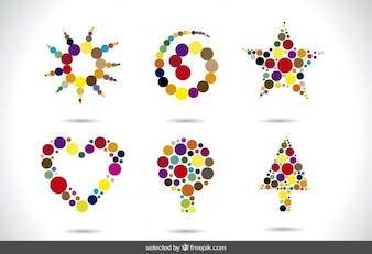 Formas abstractas hechas con puntos