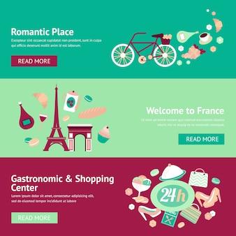 Francia bandera conjunto con lugar romántico bienvenida gastronomía y centro comercial ilustración vectorial aislado