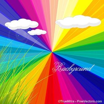Franjas coloridas del arco iris con las nubes