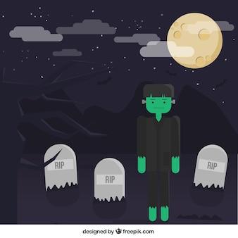 Frankenstein lindo en el cementerio
