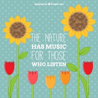Frase de naturaleza con flores