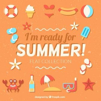 Frase estoy preparado para el verano con elementos planos de verano
