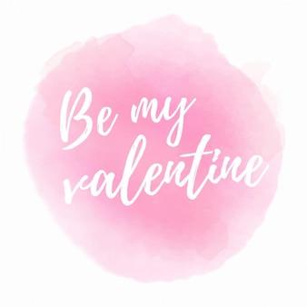 Frase romántica con acuarela rosa
