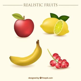 Fruta realista con una manzana y un plátano